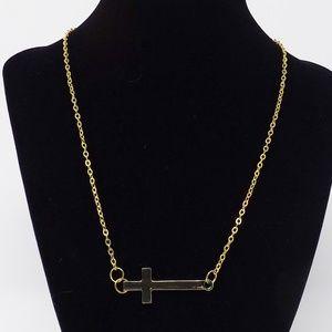 Gold Horizontal Cross Necklace